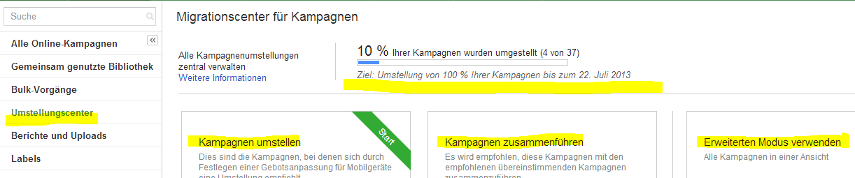 Migrationscenter im AdWords-Konto