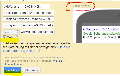 AdWords-Anzeigen für Smartphone