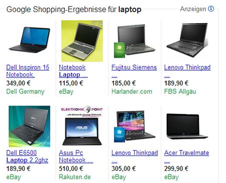 Shopping-Ergebnisse-Google