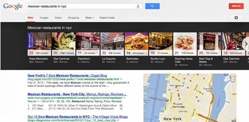 Karussell-Bilder für lokale Suchergebnisse