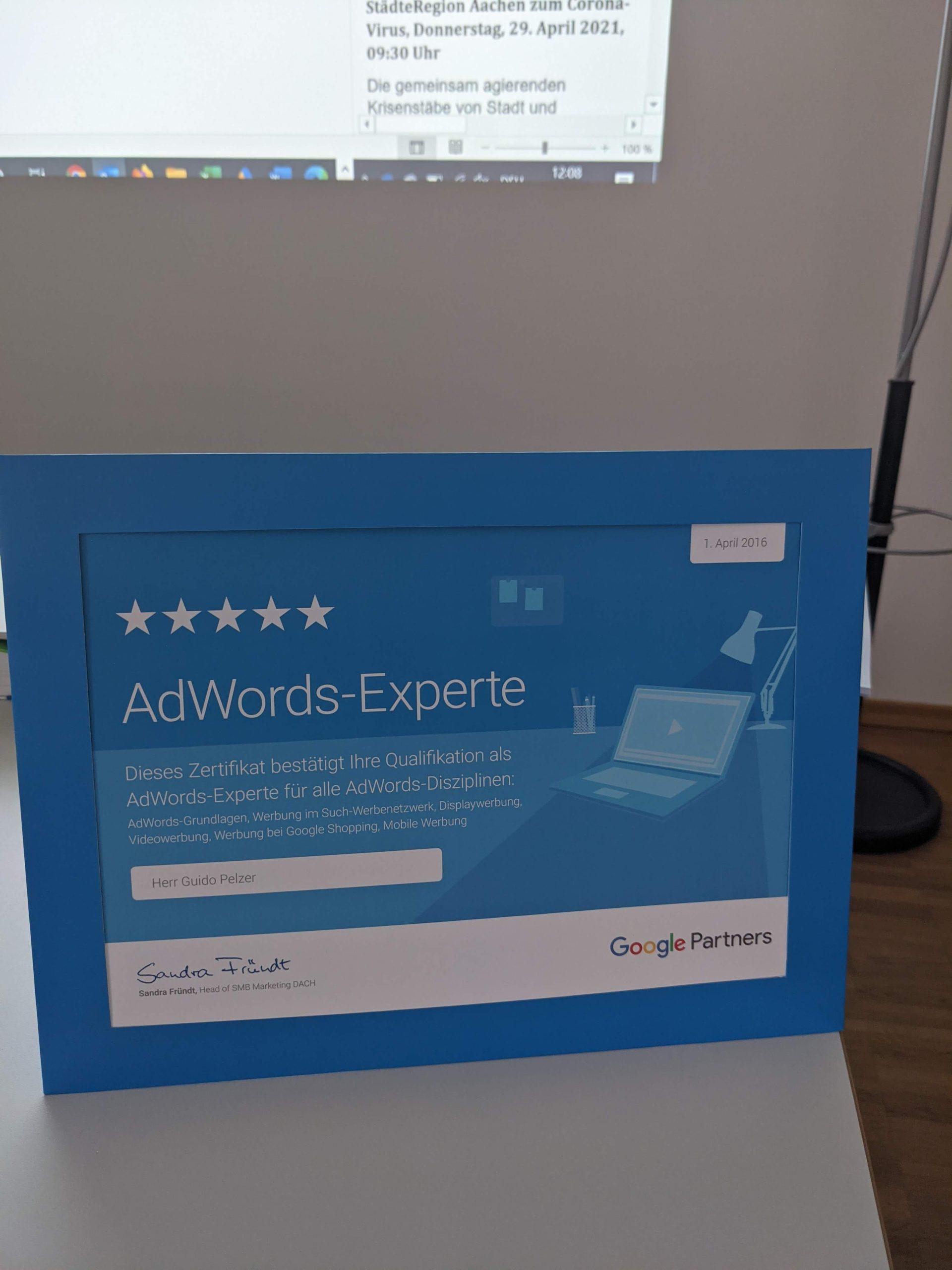 Auszeichnung: Google AdsWords Experte